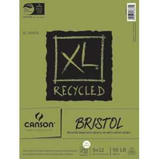 """25 Sheets - Canson XL Recycled Bristol Paper Pad 9""""X12"""""""