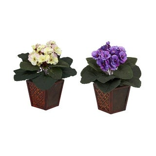 Nearly Natural African Violet with Vase Silk Plant - Set of 2 Purple & Cream/Pink