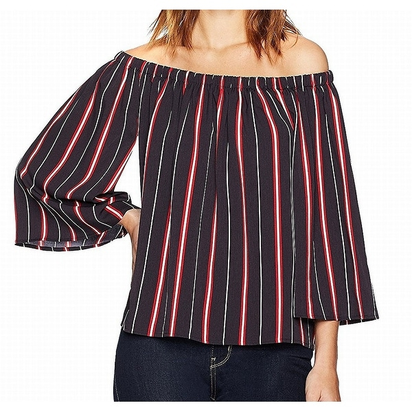 3808d36b057 Shop French Connection Black Red Striped Off-Shoulder Chiffon XS ...