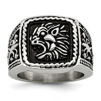 Chisel Stainless Steel Antiqued Lion Ring (15 mm)