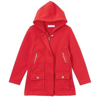 Littoe Potatoes Little Girls Red Flap Pockets Button Accents Hooded Coat