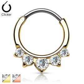 Clear Five CZ Paved Gold IP Round Septum Clicker (Sold Ind.)