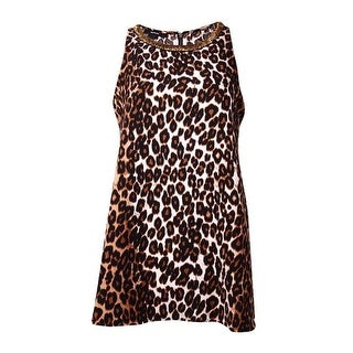 Alfani Women's Animal Print Beaded Halter Top - swift leopard