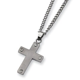 Chisel Brushed Titanium Cross (1.3 x 0.75 Inch) on 22 Inch Steel Curb Chain (2 mm) - 22 in