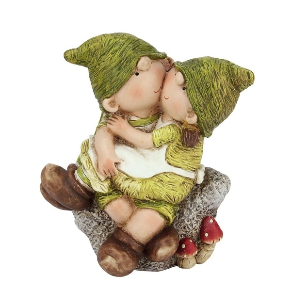 "7.25"" Young Boy and Girl Gnome's Sitting on a Stone Spring Outdoor Garden Patio Figure"
