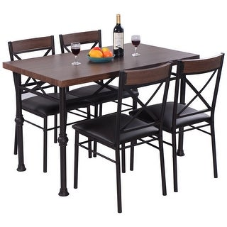 Costway 5 Piece Dining Set Table And 4 Chairs Wood Metal Kitchen Breakfast Furniture New