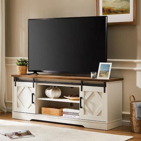 Famhouse Sliding Barn Door Wood TV Stand Storage Cabinet 59 Inch