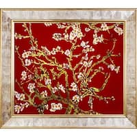 Red Branches of an Almond Tree Metallic Embellished Framed Hand Painted Oil on Canvas