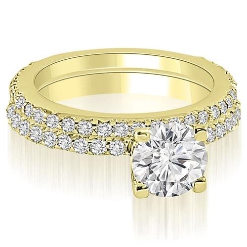 Modern 1.51 ct.tw 14K Yellow Gold Round Cut Prong-Set Diamond Bridal Set HI, SI1-2