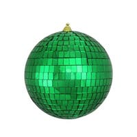 "Green Mirrored Glass Disco Ball Christmas Ornament 6"" (150mm)"