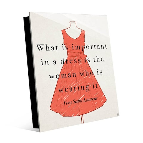 Kathy Ireland Yves Saint Laurent Quote with Red Dress on Acrylic Wall Art Print