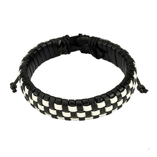 Black and White Checker Weaved Layers Leather Bracelet with Drawstrings (14.5 mm) - 7.5 in