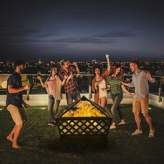 """26"""" Outdoor 4 Angles Fire Pit  Mesh Brazier Bronze"""