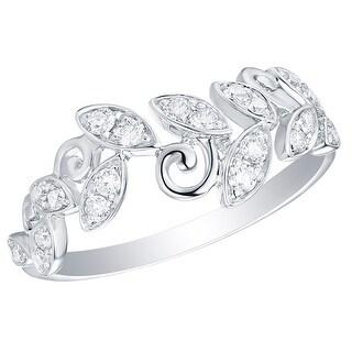 Prism Jewel 0.30Ct Round G-H/I1 Natural Diamond Olive Leaf Ring