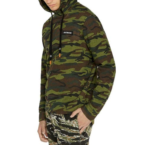 Avirex Mens Sweater Green Size 2XL Camo Print Front Pocket Hooded