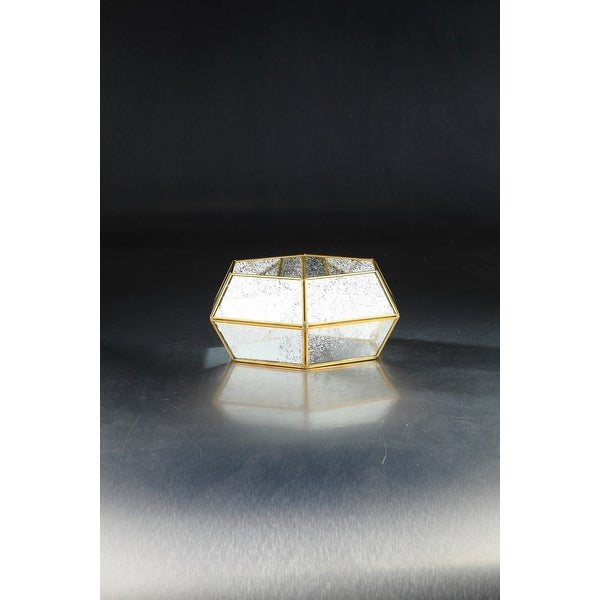 """10.5"""" Clear and Gold Colored Hexagonal Mercury Glass Style Planters - N/A"""