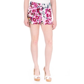 Shakuhachi Womens Faux Leather Embroidered Casual Shorts