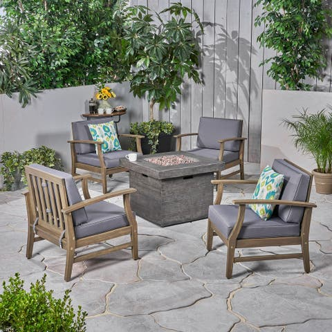 Kourtney Outdoor 4-seater Wood Chat Set with Fire Table by Christopher Knight Home