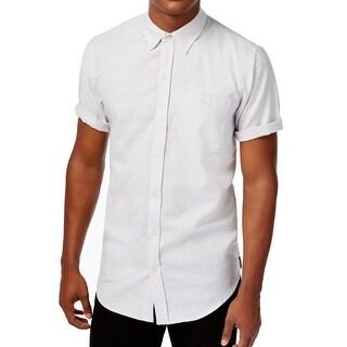 Ezekiel NEW Gray Silver Mens Medium M Chest Pocket Button Down Shirt