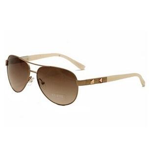 Guess 7279 ROGLD-34 Aviator Rose Gold Sunglasses Pink Gradient Lens - satin rose gold