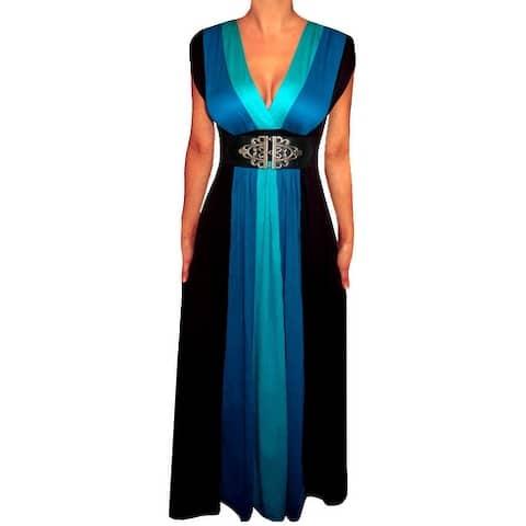 Funfash Plus Size Women's Blue Black Block Long Maxi Dress Made in USA