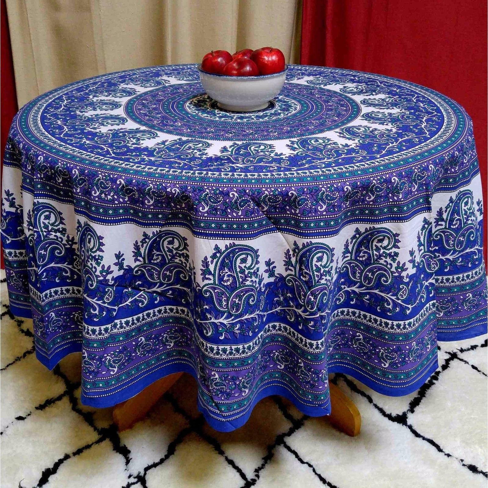Cotton Mandala Paisley Floral Tablecloth Round Blue Purple - 72 Inches - Thumbnail 0