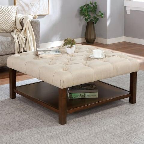Furniture of America Bremerson Transitional Beige Square Ottoman