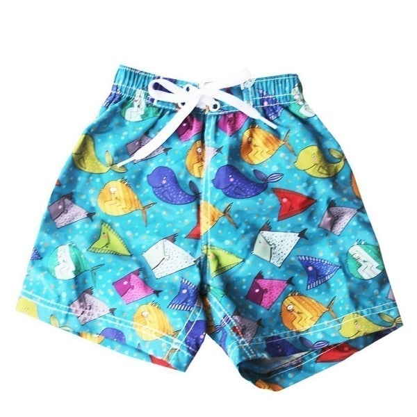 Azul Baby Boys Blue Multi Color Happy Fish Print Swimwear Trunks