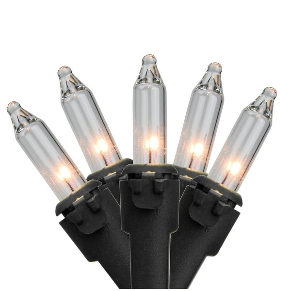 "Set of 50 Clear Mini Christmas Lights 3"" Spacing- Black Wire"