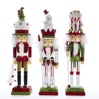 """Pack of 3 Vibrantly Colored Hollywood Christmas Decorative Nutcracker Figures 18"""" - WHITE"""