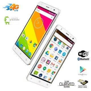 "Indigi 4G SmartPhone 5"" Android 6.0 Marshmallow OS Google Play Store (FACTORY UNLOCKED) - White"