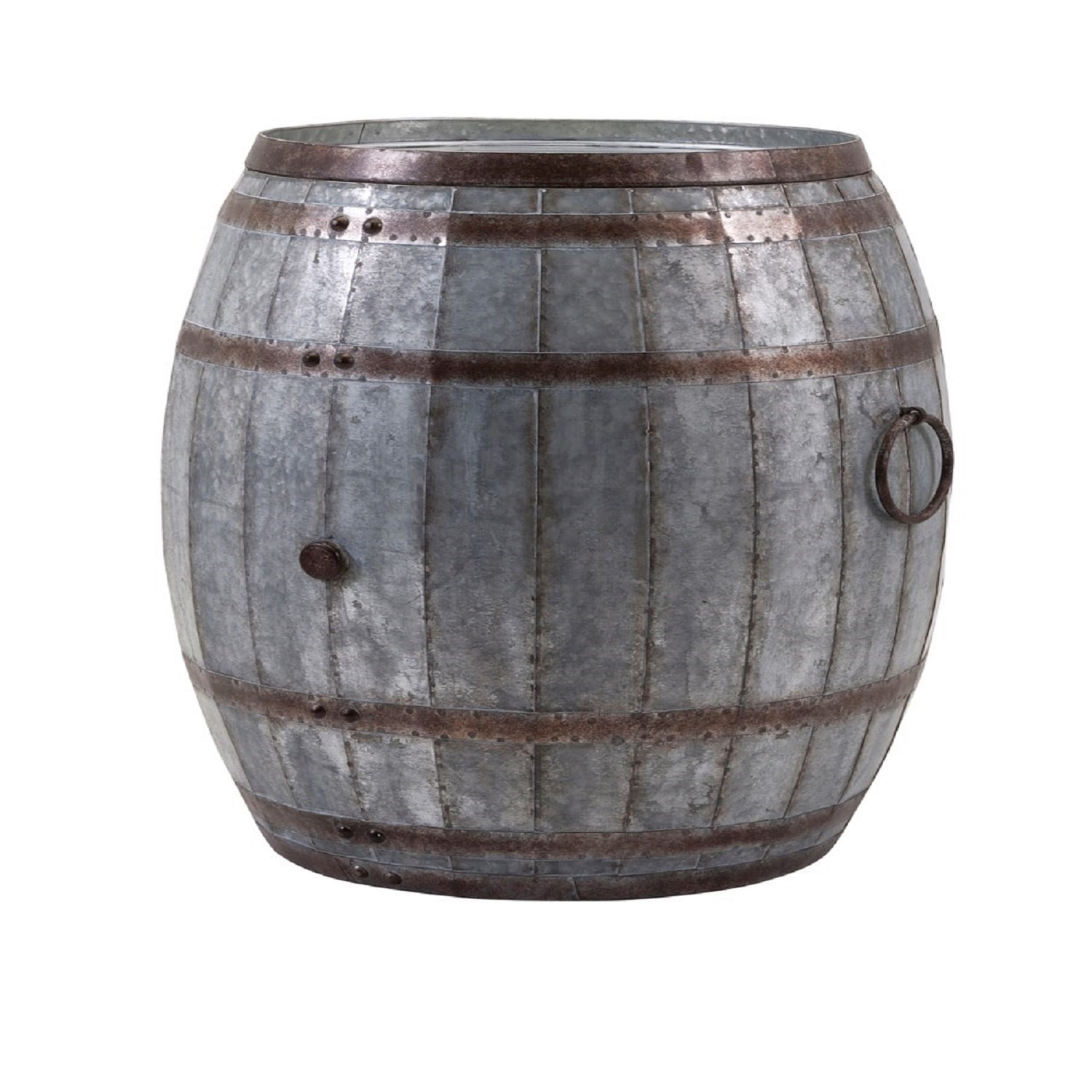 26 Pewter Gray And Mocha Brown Rustic Decorative Wine Barrel Storage Table N A