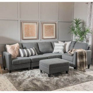 Christopher Knight Home Zahra 6-piece Fabric Sofa Sectional with Storage Ottoman