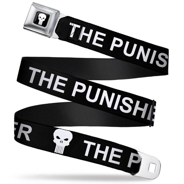 Marvel Universe Punisher Logo3 Full Color Black White The Punisher W Logo Seatbelt Belt