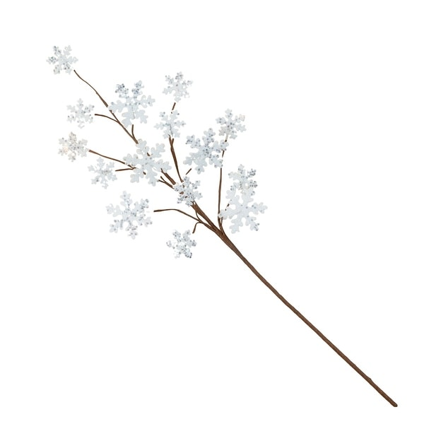 "24"" White and Brown Novelty Snowflake Spray - N/A"