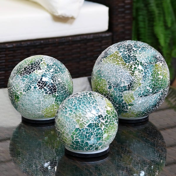 Sunnydaze Lighted Ocean Dreams Mosaic Tabletop Garden Gazing Globes - Set of 3. Opens flyout.