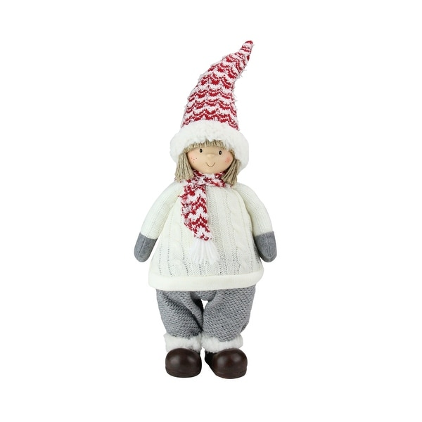 """19.5"""" Ivory, Red, and Gray Cheerful Young Boy Gnome Christmas Decoration - RED"""