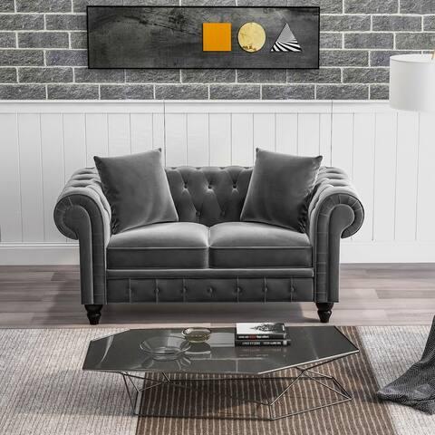 """[Pre Sale] 63"""" Tufted Velvet Upholstered Loveseat Sofa with 2 Pillows"""