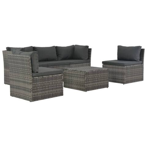 vidaXL 4 Piece Garden Lounge Set with Cushions Poly Rattan Gray