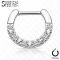Five CZs Paved Single Line 316L Surgical Steel Septum Clicker (Sold Ind.) - Thumbnail 1