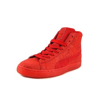 Puma Suede Mid ME Iced Men  Round Toe Leather Red Sneakers