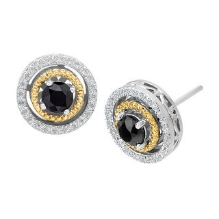 1 ct Black & White Diamond Earrings in Sterling Silver & 14K Gold
