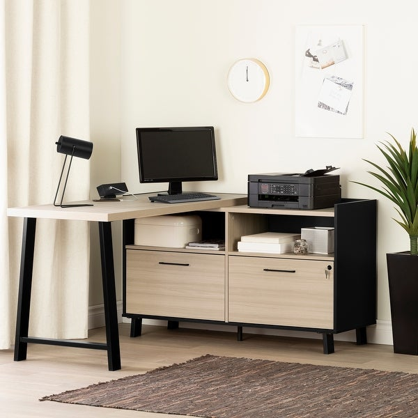 South Shore Kozack L-shaped Desk with Power Bar. Opens flyout.