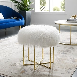 Mexiyabailey Modern Round Velvet Ottoman With Gold Finish Stainless Steel Frame White Dailymail