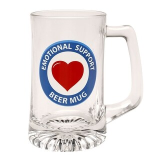 Lasting Impressions Emotional Support Glass Beer Mug - Beverage Stein - 15 Ounces - 5.5 in.