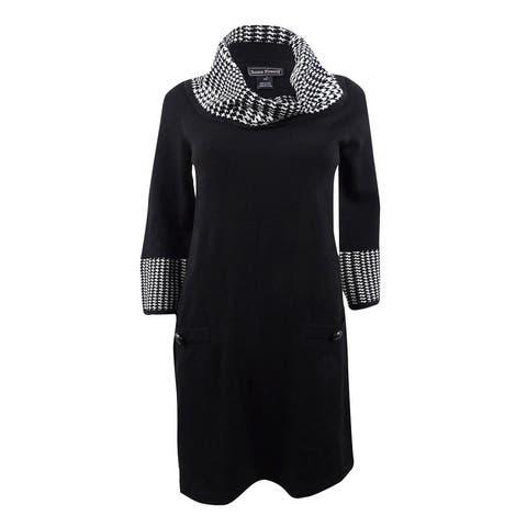 Jessica Howard Women's Petite Cowl-Neck Sweater Dress (PXL, Black/Ivory) - Black/Ivory - PXL