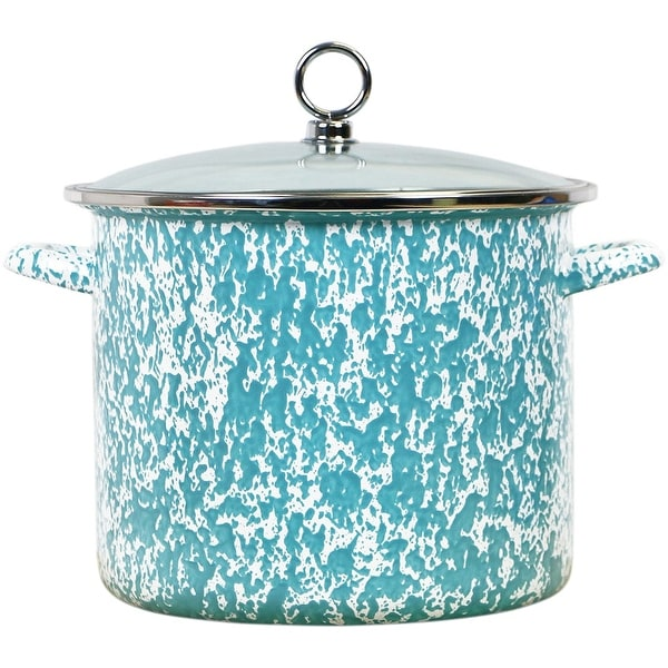 Calypso Basics by Reston Lloyd Vintage Marble Enamel on Steel Stockpot with Glass Lid, 8-Quart, Turquoise. Opens flyout.