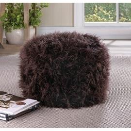 Fuzzy Brown Ottoman Pouf