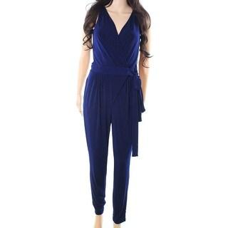 Lauren By Ralph Lauren NEW Navy Blue Womens Size XL V-Neck Jumpsuit