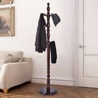 Costway 2 -Tire Wood Hat Coat Rack Hanger Tree Stand Hallway Entry Home Furni W/ 8 Hooks - Brown